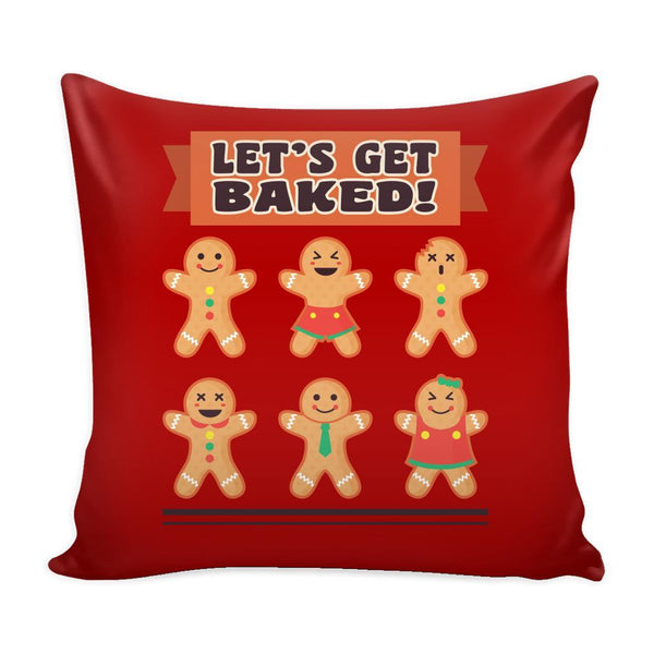 Let's Get Baked Festive Funny Ugly Christmas Holiday Sweater Decorative Throw Pillow Cases Cover(4 Colors)-Pillows-Red-JoyHip.Com