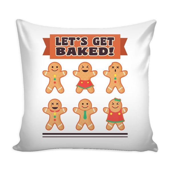 Let's Get Baked Festive Funny Ugly Christmas Holiday Sweater Decorative Throw Pillow Cases Cover(4 Colors)-Pillows-White-JoyHip.Com