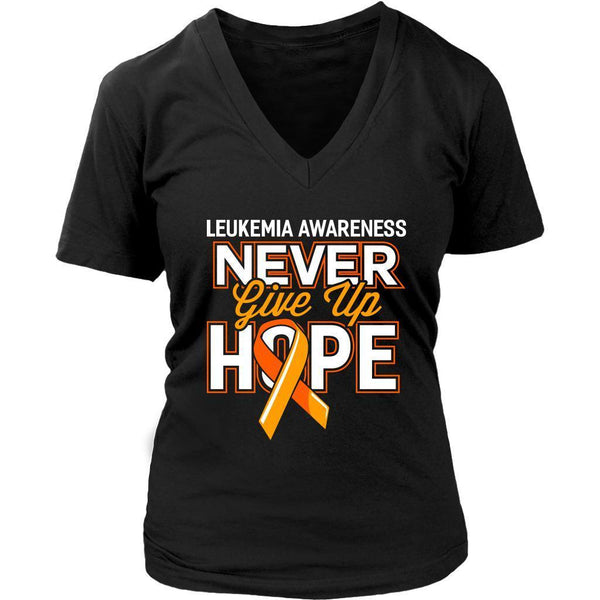 Leukemia Awareness Never Give Up Hope Orange Ribbon Hip Women V-Neck-T-shirt-District Womens V-Neck-Black-JoyHip.Com