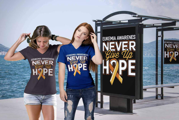 Leukemia Awareness Never Give Up Hope Orange Ribbon Hip Women V-Neck-T-shirt-JoyHip.Com