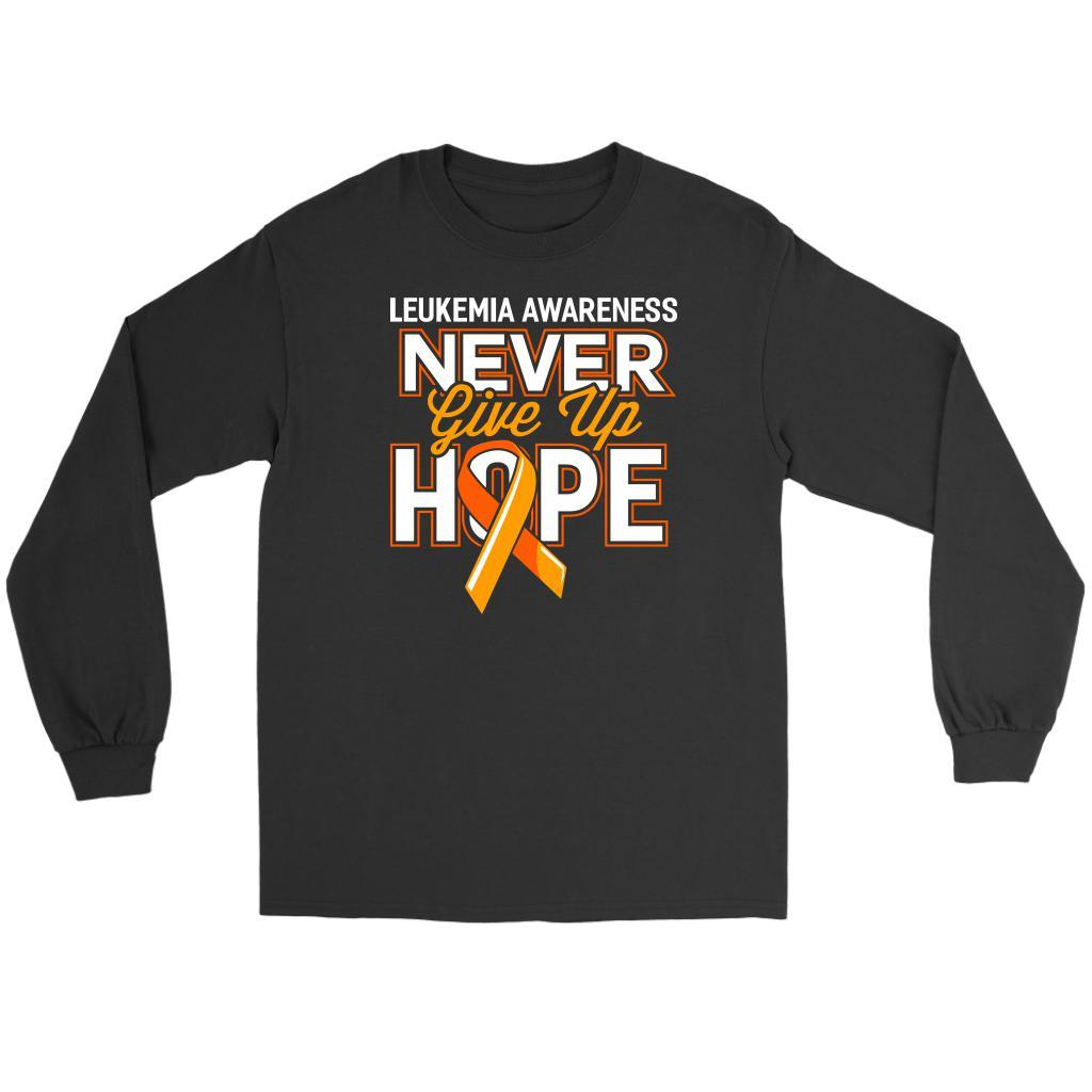 Leukemia Awareness Never Give Up Hope Unisex Long Sleeve T-Shirts-T-shirt-Gildan Long Sleeve Tee-Black-JoyHip.Com