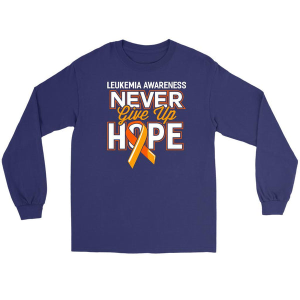 Leukemia Awareness Never Give Up Hope Unisex Long Sleeve T-Shirts-T-shirt-Gildan Long Sleeve Tee-Purple-JoyHip.Com