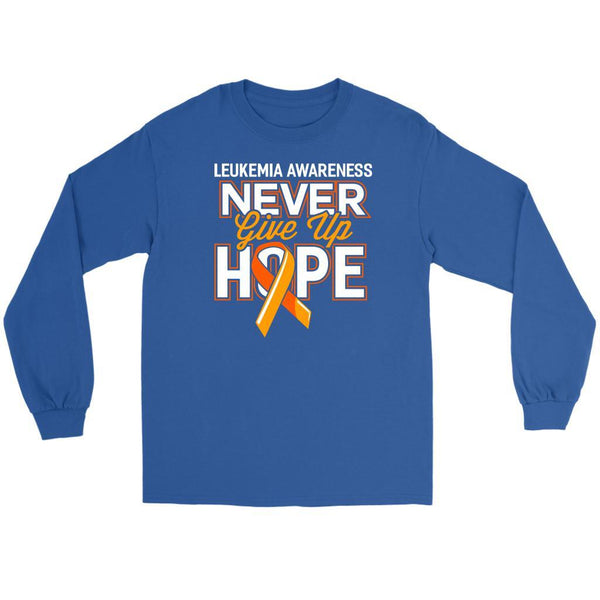 Leukemia Awareness Never Give Up Hope Unisex Long Sleeve T-Shirts-T-shirt-Gildan Long Sleeve Tee-Royal Blue-JoyHip.Com