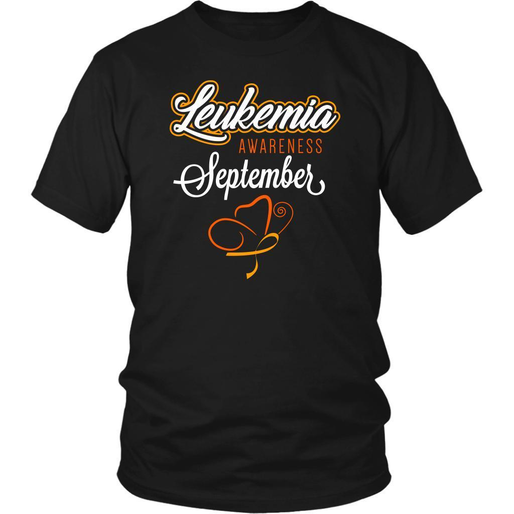 Leukemia Awareness September Orange Ribbon Awesome Men Unisex T-Shirt-T-shirt-District Unisex Shirt-Black-JoyHip.Com