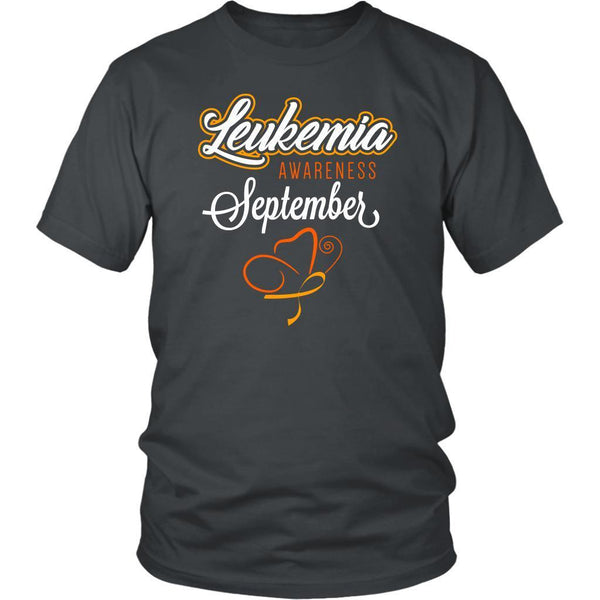 Leukemia Awareness September Orange Ribbon Awesome Men Unisex T-Shirt-T-shirt-District Unisex Shirt-Grey-JoyHip.Com