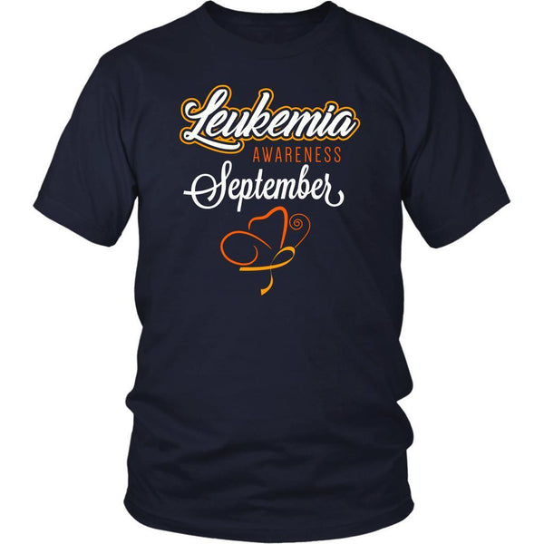 Leukemia Awareness September Orange Ribbon Awesome Men Unisex T-Shirt-T-shirt-District Unisex Shirt-Navy-JoyHip.Com