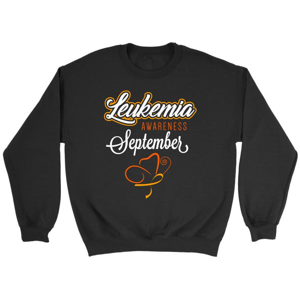 Leukemia Awareness September Orange Ribbon Unisex Crewneck Sweatshirt-T-shirt-Crewneck Sweatshirt-Black-JoyHip.Com