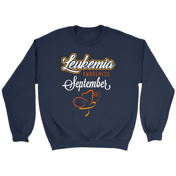Leukemia Awareness September Orange Ribbon Unisex Crewneck Sweatshirt-T-shirt-Crewneck Sweatshirt-Navy-JoyHip.Com