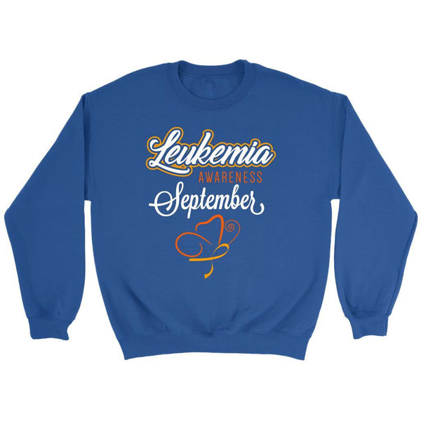 Leukemia Awareness September Orange Ribbon Unisex Crewneck Sweatshirt-T-shirt-Crewneck Sweatshirt-Royal Blue-JoyHip.Com