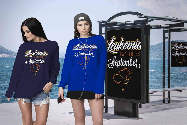 Leukemia Awareness September Orange Ribbon Unisex Crewneck Sweatshirt-T-shirt-JoyHip.Com