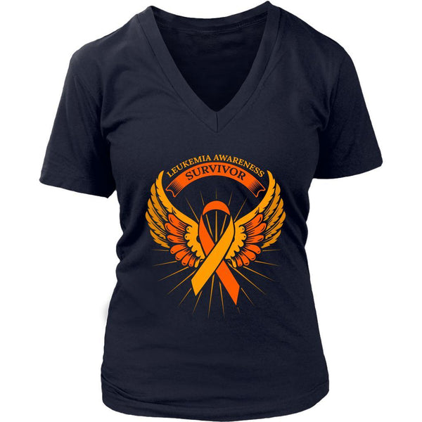 Leukemia Awareness Survivor Orange Ribbon Awesome Cool Women V-Neck-T-shirt-District Womens V-Neck-Navy-JoyHip.Com