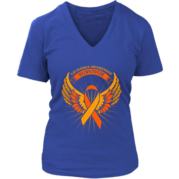 Leukemia Awareness Survivor Orange Ribbon Awesome Cool Women V-Neck-T-shirt-District Womens V-Neck-Royal Blue-JoyHip.Com