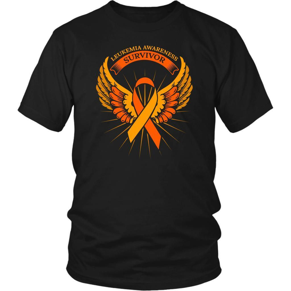 Leukemia Awareness Survivor Orange Ribbon Awesome Men Unisex T-Shirt-T-shirt-District Unisex Shirt-Black-JoyHip.Com