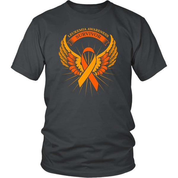Leukemia Awareness Survivor Orange Ribbon Awesome Men Unisex T-Shirt-T-shirt-District Unisex Shirt-Grey-JoyHip.Com