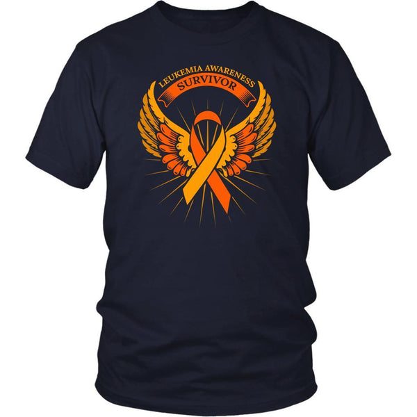 Leukemia Awareness Survivor Orange Ribbon Awesome Men Unisex T-Shirt-T-shirt-District Unisex Shirt-Navy-JoyHip.Com