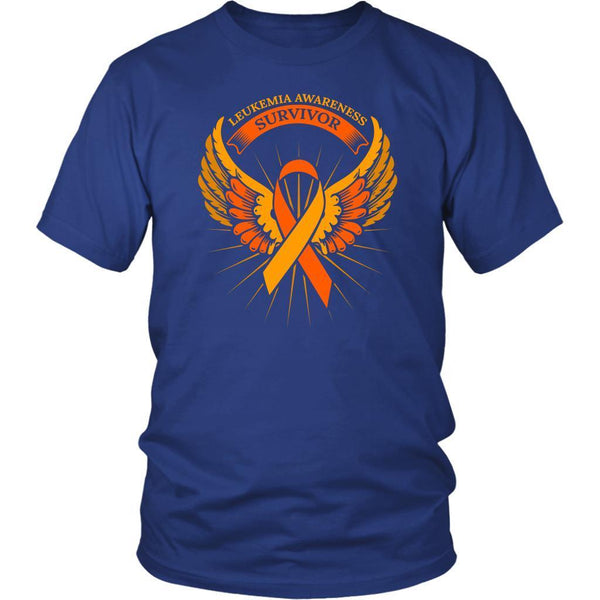 Leukemia Awareness Survivor Orange Ribbon Awesome Men Unisex T-Shirt-T-shirt-District Unisex Shirt-Royal Blue-JoyHip.Com