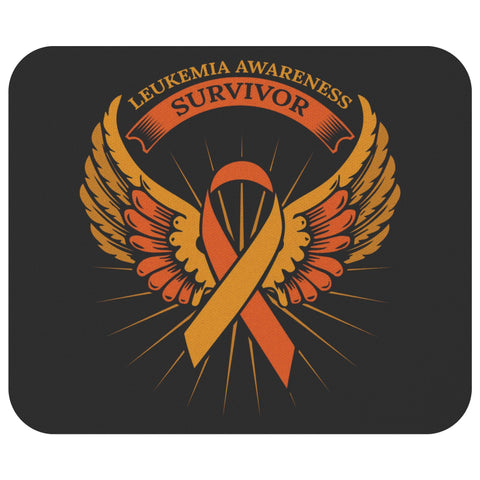 Leukemia Cancer Awareness Survivor Orange Ribbon Angel Wings Gift Idea Mouse Pad-Mousepads-Black-JoyHip.Com