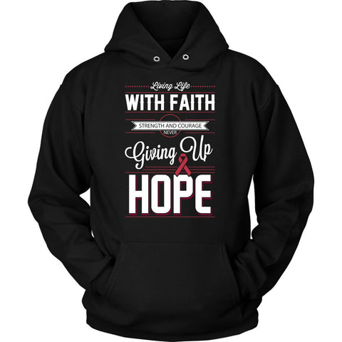 Life Faith Strength Courage Never Giving Up Hope Multiple Myeloma Cancer Awareness Hoodie For Men & Women-T-shirt-Unisex Hoodie-Black-JoyHip.Com