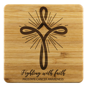 Light Blue Cross Fighting With Faith Prostate Cancer Drink Coasters Set Gifts-Coasters-Bamboo Coaster - 4pc-JoyHip.Com