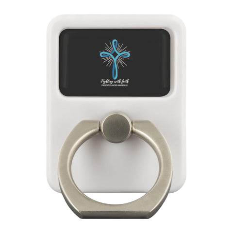 Light Blue Cross Fighting With Faith Prostate Cancer Phone Ring Holder Kickstand-Ringr - Multi-Tool Accessory-Ringr - Multi-Tool Accessory-JoyHip.Com