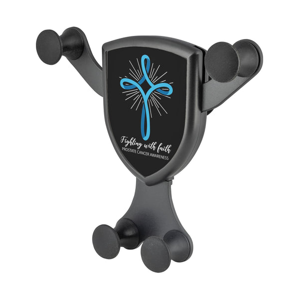 Light Blue Cross Fighting With Faith Prostate Cancer Qi Wireless Car Charger-Gravitis Car Charger-Gravitis - Wireless Car Charger-JoyHip.Com