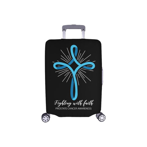 Light Blue Cross Fighting With Faith Prostate Cancer Travel Luggage Cover-S-Black-JoyHip.Com