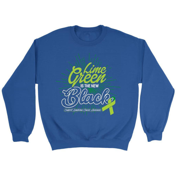 Lime Green Is The New Black Support Lymphoma Awareness Cool Gift Ideas Sweater-T-shirt-Crewneck Sweatshirt-Royal Blue-JoyHip.Com