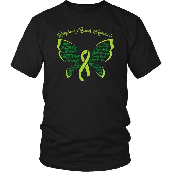 Lime Green Ribbon Butterfly Lymphoma Awareness Awesome Cool Gift Ideas TShirt-T-shirt-District Unisex Shirt-Black-JoyHip.Com