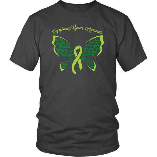 Lime Green Ribbon Butterfly Lymphoma Awareness Awesome Cool Gift Ideas TShirt-T-shirt-District Unisex Shirt-Grey-JoyHip.Com