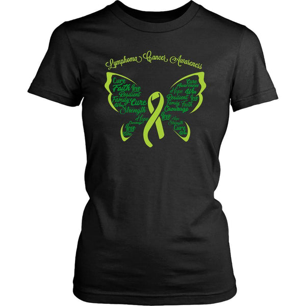 Lime Green Ribbon Butterfly Lymphoma Awareness Awesome Cool Gift Women TShirt-T-shirt-District Womens Shirt-Black-JoyHip.Com