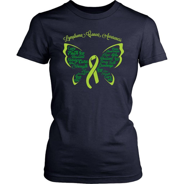 Lime Green Ribbon Butterfly Lymphoma Awareness Awesome Cool Gift Women TShirt-T-shirt-District Womens Shirt-Navy-JoyHip.Com