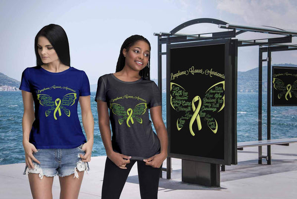 Lime Green Ribbon Butterfly Lymphoma Awareness Awesome Cool Gift Women TShirt-T-shirt-JoyHip.Com