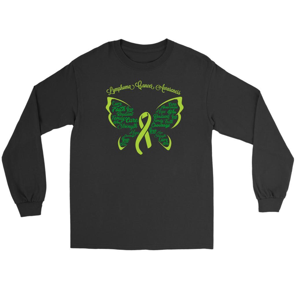 Lime Green Ribbon Butterfly Lymphoma Awareness Awesome Gift Idea Long Sleeve-T-shirt-Gildan Long Sleeve Tee-Black-JoyHip.Com