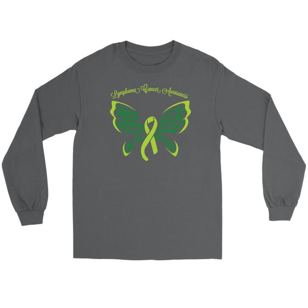 Lime Green Ribbon Butterfly Lymphoma Awareness Awesome Gift Idea Long Sleeve-T-shirt-Gildan Long Sleeve Tee-Grey-JoyHip.Com