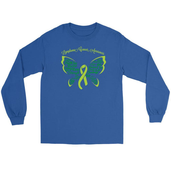 Lime Green Ribbon Butterfly Lymphoma Awareness Awesome Gift Idea Long Sleeve-T-shirt-Gildan Long Sleeve Tee-Royal Blue-JoyHip.Com