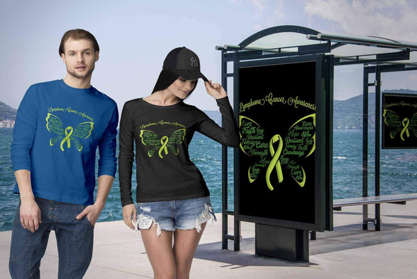 Lime Green Ribbon Butterfly Lymphoma Awareness Awesome Gift Idea Long Sleeve-T-shirt-JoyHip.Com
