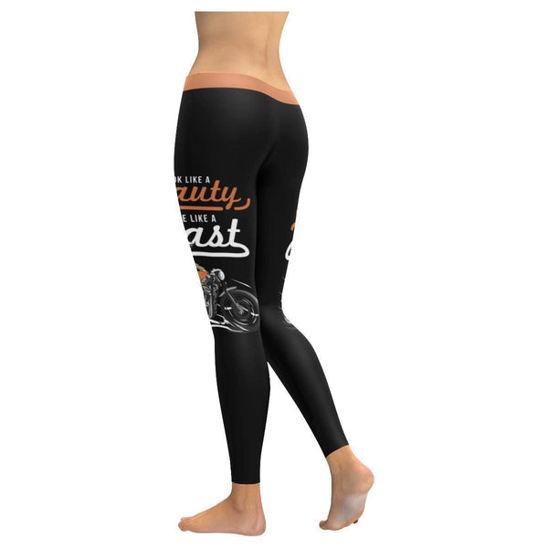 Looks Like A Beauty Ride Like A Beast Biker Motorcycle Hogs UPF40 Women Leggings-JoyHip.Com