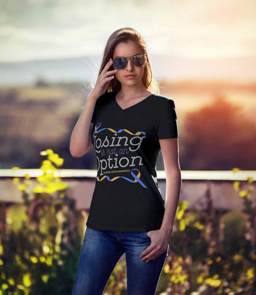 Losing Is Not An Option Bladder Cancer Awareness Awesome Cool Gift VNeck TShirt-T-shirt-JoyHip.Com