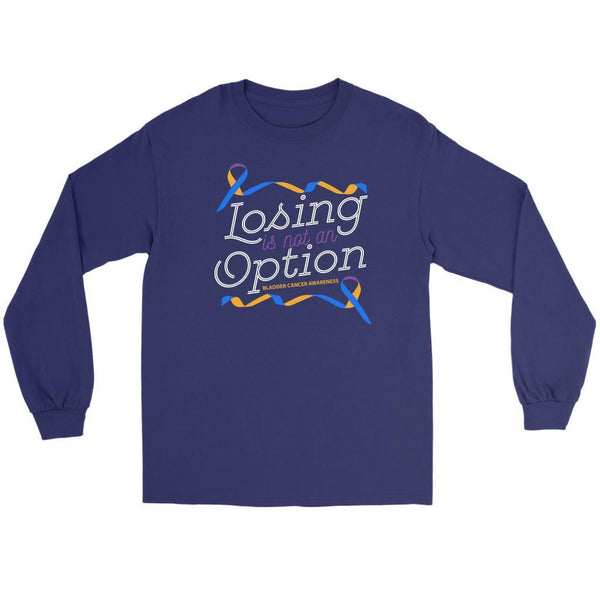 Losing Is Not An Option Bladder Cancer Awareness Awesome Gift Ideas Long Sleeve-T-shirt-Gildan Long Sleeve Tee-Purple-JoyHip.Com