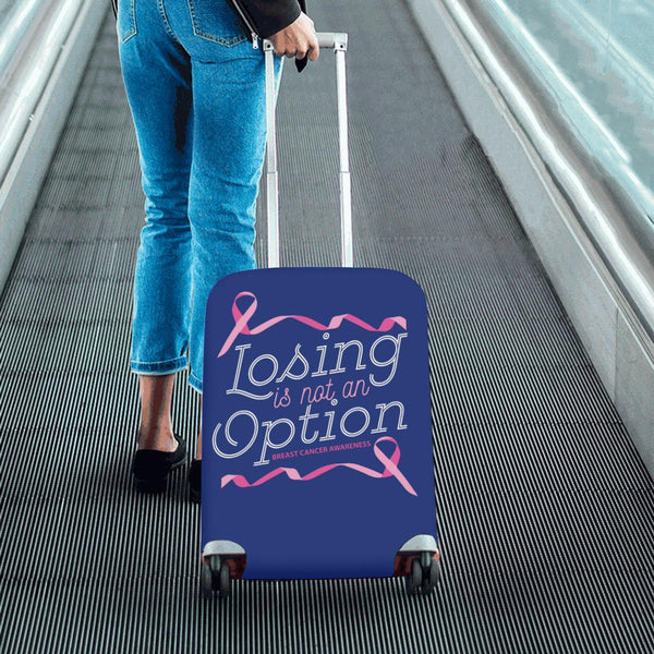 Losing Is Not An Option Breast Cancer Awareness Travel Luggage Cover Protector-JoyHip.Com