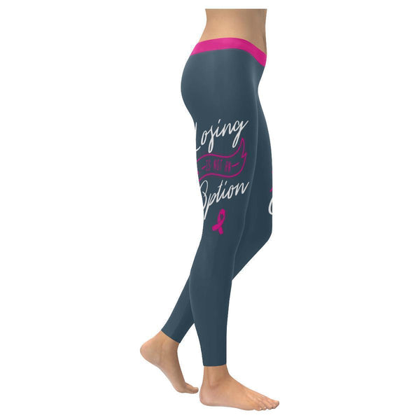 Losing Is Not An Option Breast Cancer Pink Ribbon UPF40+ Womens Leggings-XXS-Grey-JoyHip.Com