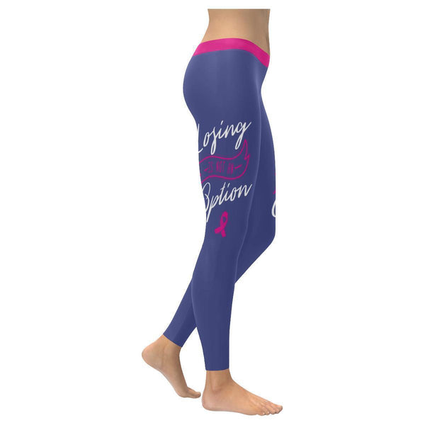 Losing Is Not An Option Breast Cancer Pink Ribbon UPF40+ Womens Leggings-XXS-Orchid-JoyHip.Com