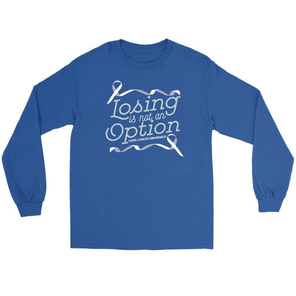 Losing Is Not An Option Lung Cancer Awareness Gift Ideas Long Sleeve Shirt-T-shirt-Gildan Long Sleeve Tee-Royal Blue-JoyHip.Com