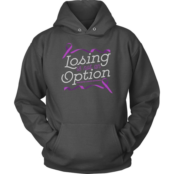 Losing Is Not An Option Pancreatic Cancer Awareness Awesome Gift Ideas Hoodie-T-shirt-Unisex Hoodie-Grey-JoyHip.Com