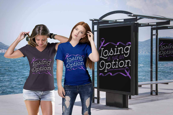 Losing Is Not An Option Pancreatic Cancer Awareness Awesome Gift VNeck TShirt-T-shirt-JoyHip.Com