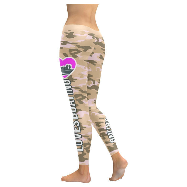 Love Boating Navy Inspired Blue Camouflage Pattern UPF40+ Cute Womens Leggings-JoyHip.Com