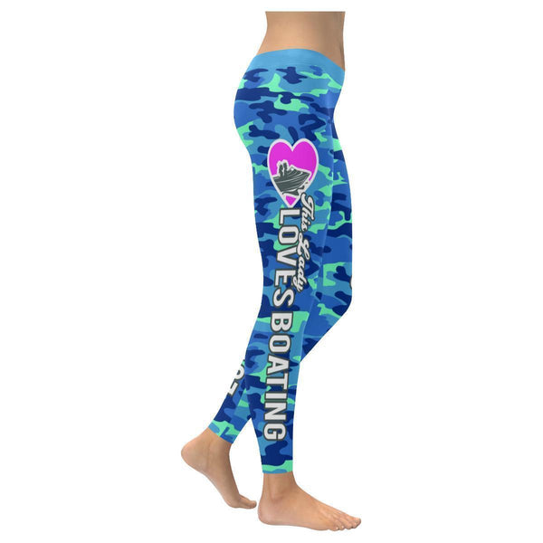 Love Boating Navy Inspired Blue Camouflage Pattern UPF40+ Cute Womens Leggings-XXS-Navy-JoyHip.Com