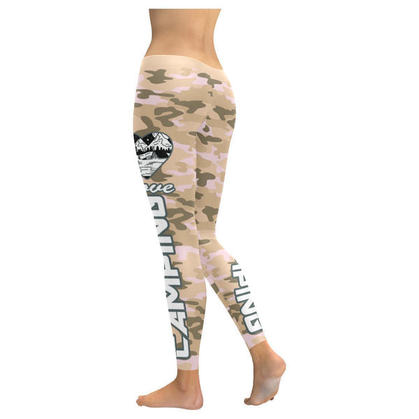 Love Camping Navy Inspired Blue Camouflage Pattern UPF40+ Cute Womens Leggings-JoyHip.Com
