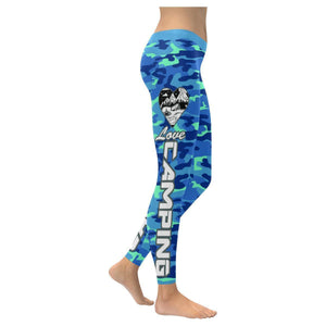 Love Camping Navy Inspired Blue Camouflage Pattern UPF40+ Cute Womens Leggings-XXS-Navy-JoyHip.Com