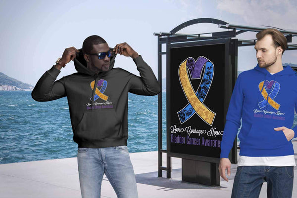 Love Courage Hope Bladder Cancer Awareness Cool Yellow Blue Purple Ribbon TShirt-T-shirt-JoyHip.Com